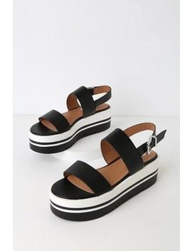 Adora Black Flatform Sandals by Steve Madden
