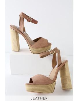 Madeline Tan Suede Leather Platform Sandals by Steve Madden