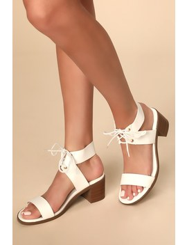 Audrei White Lace Up High Heel Sandals by Lulu's
