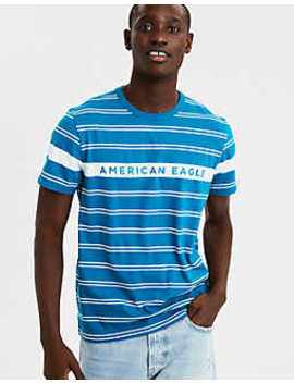 Ae Short Sleeve Striped Logo T Shirt by American Eagle Outfitters