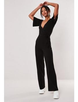 black-wrap-rib-flare-sleeve-jumpsuit by missguided