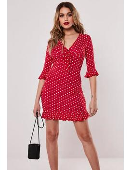 Red Polka Dot Jersey Tea Dress by Missguided