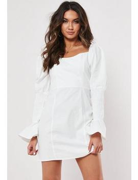 tall-white-cotton-milkmaid-dress by missguided
