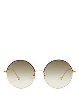 Round Frame Leather Trimmed Sunglasses by Loewe