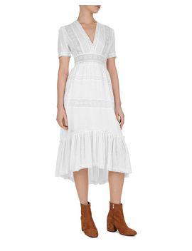 Stitched Dot Pattern Lace Midi Dress by The Kooples