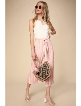 Orange Creamsicle Pink Multi Striped Culotte Pants by Bb Dakota