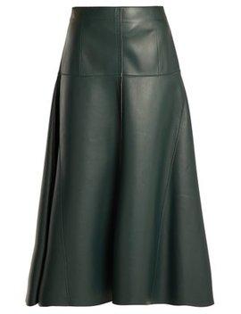 Panelled Leather Midi Skirt by Fendi