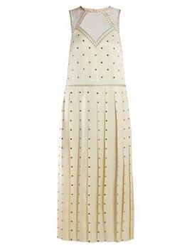 Studded Pleated Satin Midi Dress by Fendi