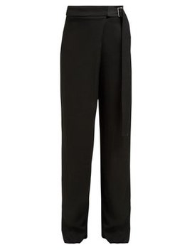 Stanley Wrap Front Twill Wide Leg Trousers by Joseph