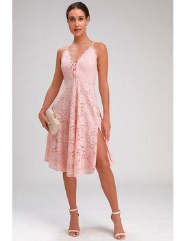 Waverly Blush Pink Lace Lace Up Midi Dress by Lulus