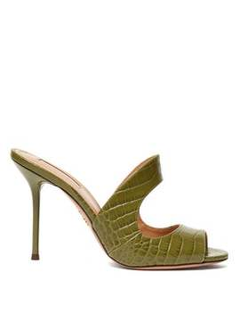 Forever 75 Crocodile Embossed Leather Mules by Aquazzura