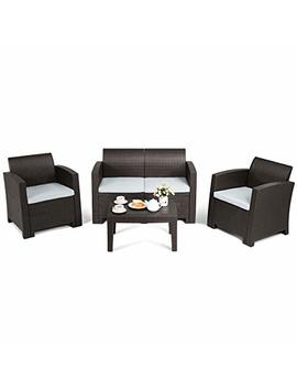 Tangkula 4 Piece Patio Furniture Set, Rattan Table Chair Set, Modern Wicker Rattan Pe Conversation Sectional Sofa Set W/Removable Cushion, Outdoor Indoor Use Sectional Yard Furniture Set, Coffee by Tangkula