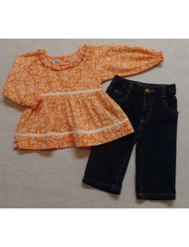 Old Navy Girls Stretch Denim Jeans 6 12 Months   Orange & Flowers Blouse Shirt by Old Navy