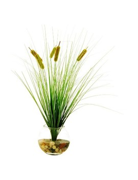 "Artificial Cattail Plant Green 23""   Lcg Florals by Lcg Florals"
