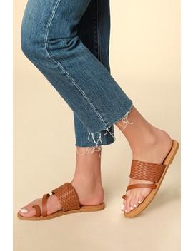 Breeann Tan Woven Flat Sandals by Lulu's