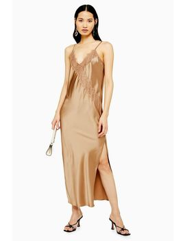 Tall Bronze Lace Satin Slip Dress by Topshop