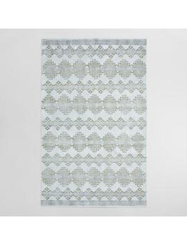 5'x8' Gray And Silver Block Print Medallion Adilade Area Rug by World Market
