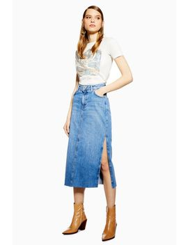 most fashionable unbeatable price pretty and colorful Shoptagr | Petite Side Split Denim Midi Skirt by Topshop