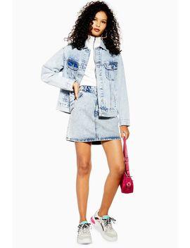 Acid Wash Denim Mini Skirt by Topshop