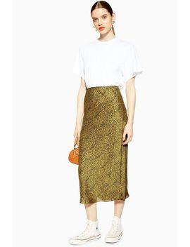 Animal Bias Satin Midi Skirt by Topshop