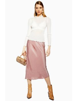 Petite Stripe Satin Bias Skirt by Topshop