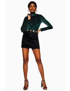 Gold Buckle Denim Skirt by Topshop