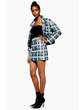 Check Diamante Leather Mini Skirt by Topshop