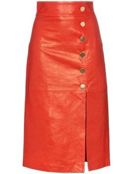 Lucy Button Down Leather Midi Skirt by Skiim