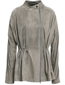 Bead Embellished Gathered Suede Jacket by Brunello Cucinelli