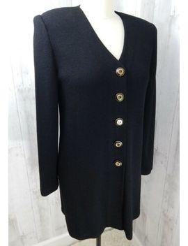 St John Basic~Classic Knit Jacket/Blazer Jet Black Long Length Coat Size M/40 B by St John