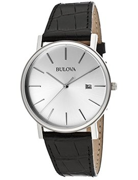 Bulova Men's Silver Dial Black Genuine Leather by Bulova