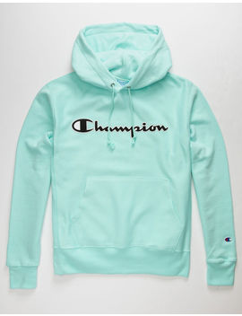 Champion Reverse Weave Mesh & Leather Mint Mens Hoodie by Champion