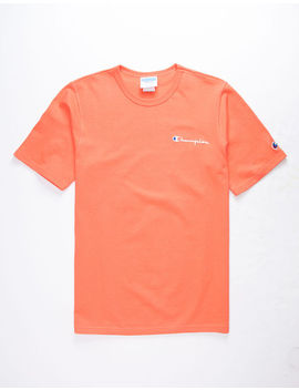 Champion Embroidered Script Logo Groovy Papaya Mens T Shirt by Champion
