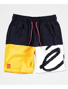 c9a5a9d3e0 Shoptagr | E S Split Navy, Yellow &Amp; White Sweat Shorts by E S
