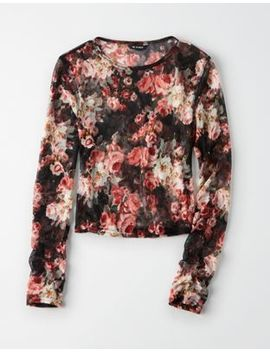 Ae Studio Floral Mesh Long Sleeve Tee by American Eagle Outfitters