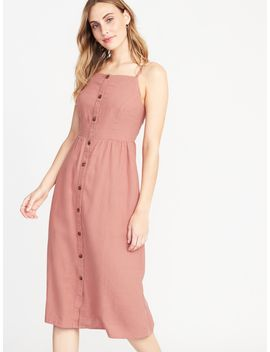 Square Neck Button Front Linen Blend Midi For Women by Old Navy