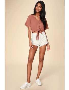 Camille Rusty Rose Tie Front Crop Top by Rhythm