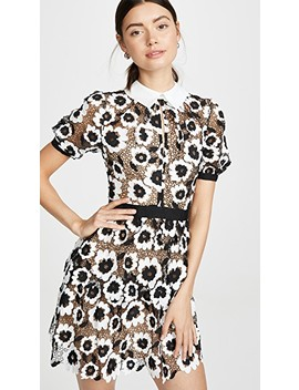 Abstract Floral Guipure Mini Dress by Self Portrait