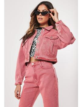 Pink Oversized Cropped Co Ord Denim Jacket by Missguided
