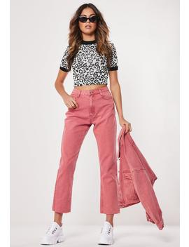 Pink Wrath Staight Leg Raw Hem Co Ord Jeans by Missguided