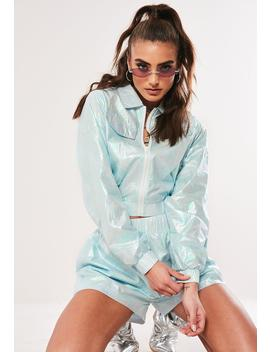 Blue Holographic Crop Zip Through Co Ord Jacket by Missguided