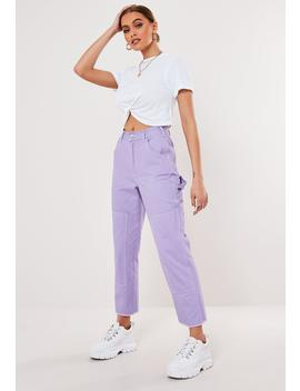 Purple Contrast Stitch Cropped Pants by Missguided
