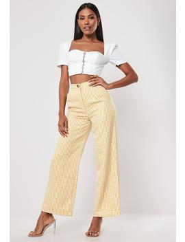 Petite Yellow High Waisted Gingham Print Wide Leg Pants by Missguided