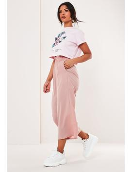 Pink Paperbag Culotte Pants by Missguided