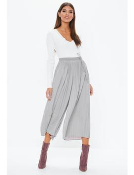 Gray Pleated Culottes by Missguided