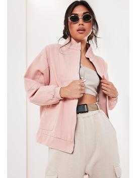 Blush Twill Windbreaker Jacket by Missguided
