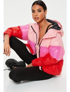 Petite Pink Colorblock Puffer Jacket by Missguided