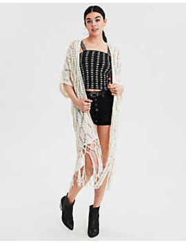 Ae Fringe Kimono by American Eagle Outfitters