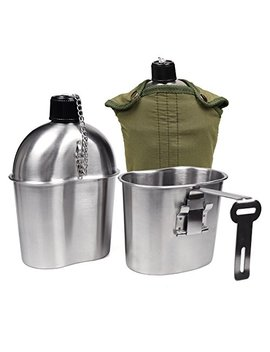 Goetland Stainless Steel Wwii Us Military Canteen Kit 1 Qt With 0.5 Qt Cup Nylon Cover G.I. by Goetland