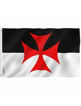 Anley Fly Breeze 3x5 Foot Knights Templar Battle Flag   Vivid Color And Uv Fade Resistant   Canvas Header And Double Stitched   Roman Catholic Church Flags Polyester With Brass Grommets 3 X 5 Ft by Anley